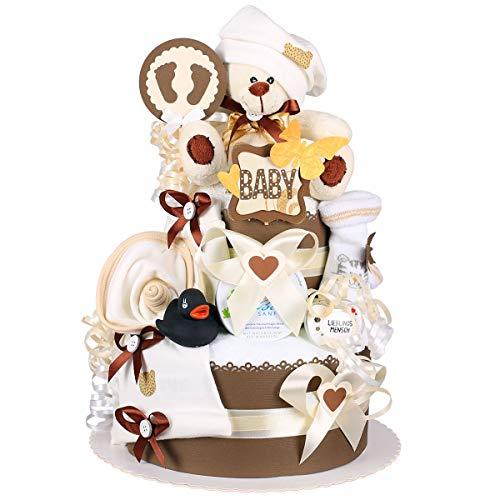 MomsStory – Tarta de pañales neutral | Oso de peluche | Regalo de bebé para nacimiento, bautizo, baby shower | 2 pisos (marrón-beige) Baby-Boy & Baby-Girl (unisex) con babero de peluche y más