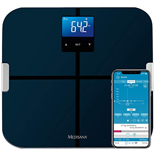 Medisana BS 440 connect, digitale Körperanalysewaage 180 kg, Personenwaage zur Messung von Körperfett, Körperwasser, Muskelmasse und Knochengewicht, Körperfettwaage mit Körperanalyse App