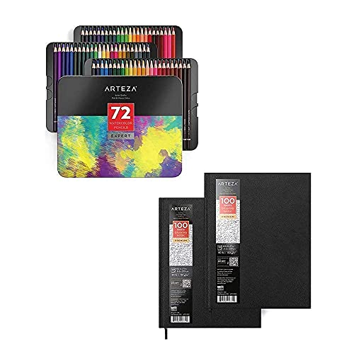Arteza Hardbound Sketchbook Pack and Professional Watercolor Pencils Bundle for Watercolor Techniques, Drawing Art Supplies for Artist, Hobby Painters & Beginners