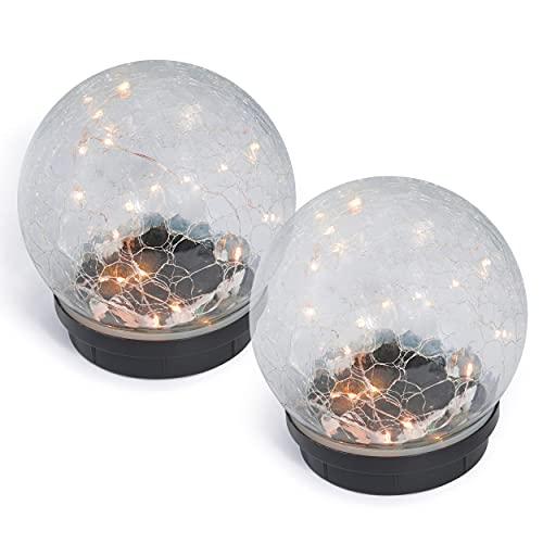 Glas-Solarkugel Lichterzauber 15 cm im 2er-Set - Leuchtdraht je mit 24 LEDs - angenehm warmweißes Licht - traumhafte Lichteffekte dank Bruchglasoptik - Solarlampe Garten, esotec 102436