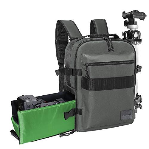 RANGELAND DSLR Backpack Camera (Bark Grey) Fits 15.6 Laptop Accessory StorageTripod Holder Water Resistant Rain Cover