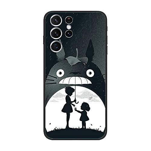 CHATERE Black Case for Samsung Galaxy S21 Ultra, Cute-Totoro Small 7 Soft Silicone TPU Matte Printed Coque Gel Rubber