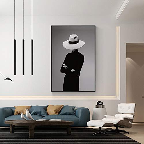 GJQFJBS Wandbild Leinwanddruck Malerei Abstrakte Figur Malerei Hut Wohnzimmer Home Art Dekoration A2 40x50cm