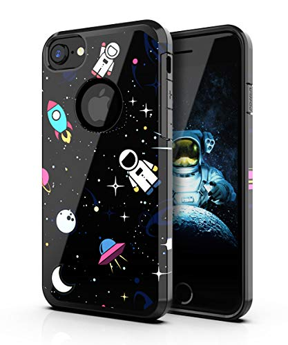 PBRO Case for iPhone 6/6s Case,iPhone 7/8 Case,iPhone SE 2020 Case Cute Astronaut Case Dual Layer Soft Silicone & Hard Back Cover Heavy Duty PC+TPU Protective Case for iPhone 6/6S/7/8/SE2 Space/Black.