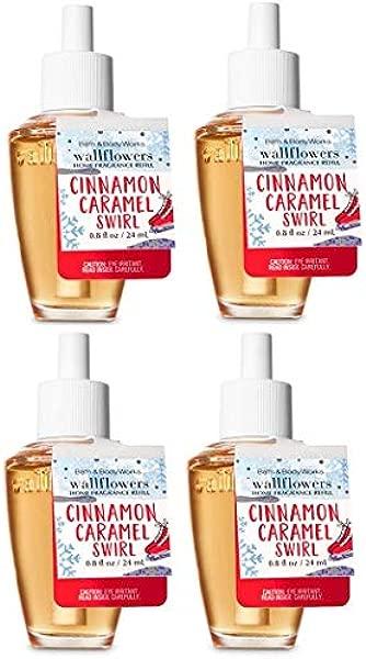 Bath And Body Works Cinnamon Caramel Swirl Wallflowers Fragrances Refill 0 8 Oz 4 Set
