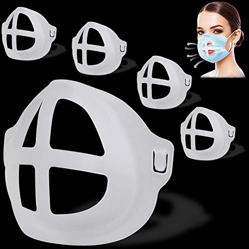TOOVREN Silikon Halterung Lippenstift Schutz Halterung 3D Face Bracket, Atmen Stützrahmen Innenkissen für Nasenpolster für Mund und Nase, Verhindern Linse beschlägt (Erwachsene 5 Stk)