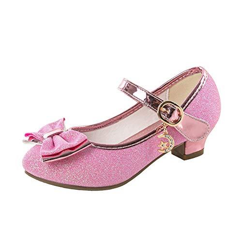 Zapatos Tacon Niña Zapatillas Princesa Lentejuelas Infantil Sandalias de Vestir Fiesta Bowknot para Niñas 30 EU(CN 31,Rose)