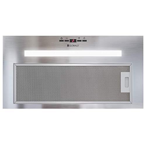 GLOBALO Dunstabzugshaube, Einbauhaube für Küche, Flachlüfter, Fettfilter, Unterbauhaube mit Beleuchtung, Unterbau 55 cm, Lüfterbaustein, 4 Leistungsstufen, Edelstahl, Amadio 60.2 Inox