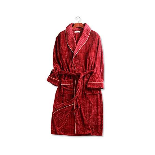Albornoz largo para mujer, 100 % poliéster, manga larga, para hotel, baño, dormitorio, (color: rojo, tamaño: mediano)