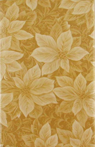 Poinsettias and Holly with Berries Vinyl Flannel Back Tablecloth (Gold, 60' Round)