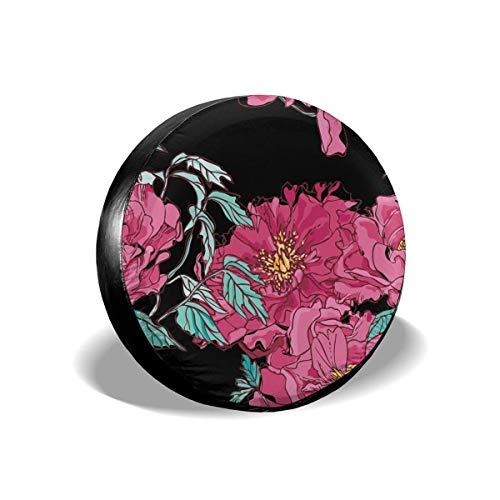 Hokdny Cubierta DE LA Rueda Peonías Rosas sobre Fondo Negro Romantic Wheel Cover with PVC Leather Waterproof Dust-Proof Fit