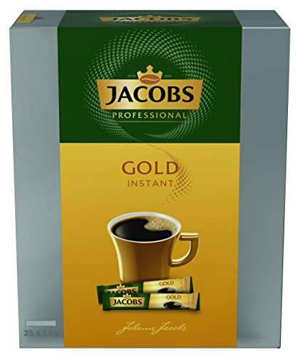 Jacobs Professional Gold Instant Sticks, 8er Pack mit 25x1,8g Tassenportionen, löslicher Bohnenkaffee, handliche Portionsbeutel, milder und aromatischer Geschmack