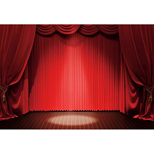 Haoyiyi 7x5ft Red Curtain Stage Backdrop Drapes Curtains Panels Swags Window Starlight Background Photography Photo Kids Openning Ceremony Celebrating Drama Music Show Vlogger Decor