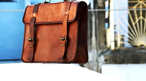 vintage crafts Goat Leather Messenger Satchel Motorcycle Saddlebags one Sided Travel Bag Saddle product image
