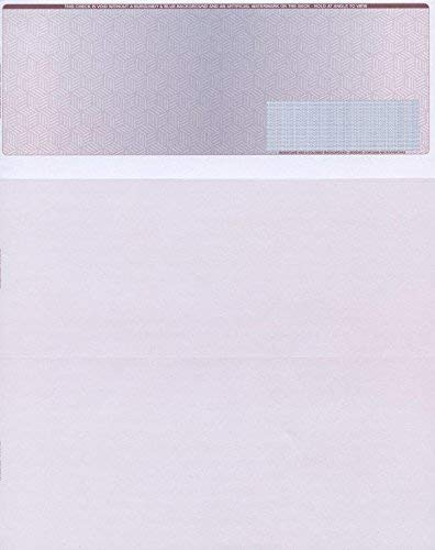 """250 Blank Check Stock - Check on Top Burgundy/Blue Cubed - Paper Weight # 28""""High Security"""""""