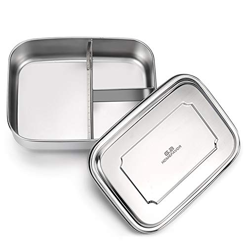 Stainless Steel Bento Lunch Box with Three Compartments