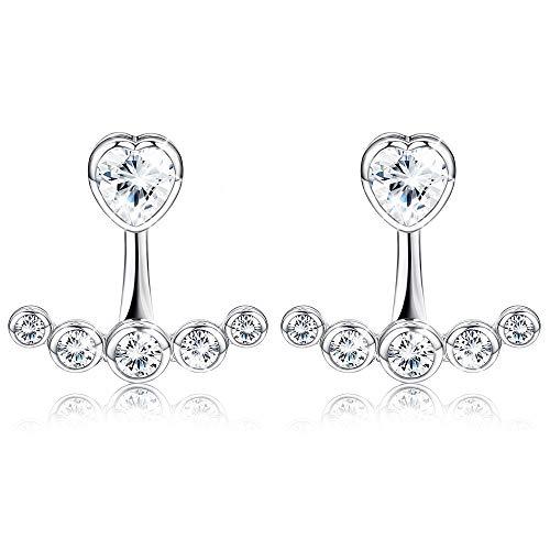 Sllaiss 925 Chaqueta de plata esterlina para mujer Niñas Chic Heart Cubic Zirconia Stud Pendientes Hipoalergénicos
