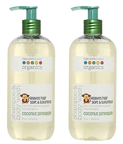 Nature's Baby Organics Shampoo & Body Wash, Coconut Pineapple, 16 oz. (Pack of 2)