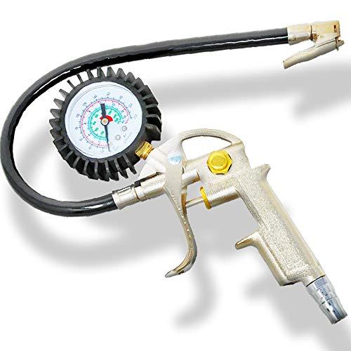 【工具のジョー】 エアチャックガン エアゲージ タイヤゲージ 空気入れ 空気圧調整 コンプレッサーで使用可能 自動車 バイク kg表示あり 日本語説明書 (15キロゲージ)
