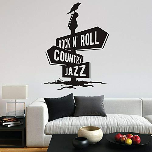 Rock N Roll Country Jazz Muursticker Kraai Gitaar Muziek Plezier Vinyl Muurstickers Vinyl Wall Art Sticker voor Home Slaapkamer Decor 75X57CM