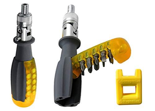 Destornilladores de Trinquete Magnético 11 en 1, 8 inch Acero Juego de Destornillador de Carraca, 180 ° Giratorio Screwdriver, Destornillador kit industrial con PH/Torx/Tri-point Puntas en el mango