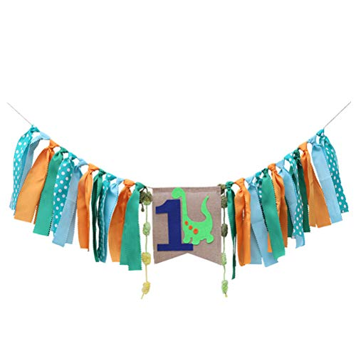 STOBOK Banner Baby 1st Birthday High Chair Banner Dinosaur Theme Ribbon Tassel Fabric Rag Tie Garland for Baby Shower Birthday Wall Decor