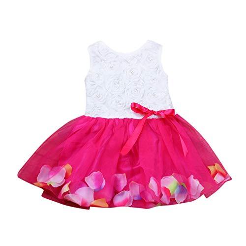 Kobay Mädchen Sommer Süßes Muster Kleinkind Kleinkind Bowknot Tutu Blütenblätter Tüll Kleider Baby Mädchen Blumenkleid Outfits