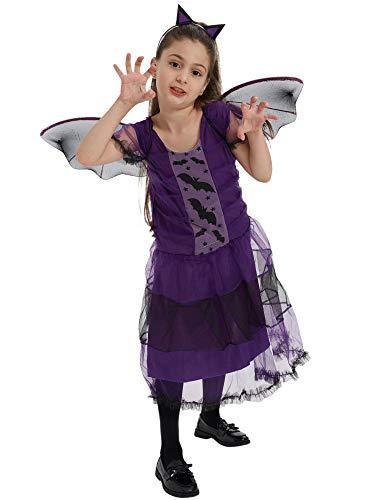 Feynman Fledermaus Kostüm Mädchen Kinder Halloween Party Kleider mit Hut Karneval,140