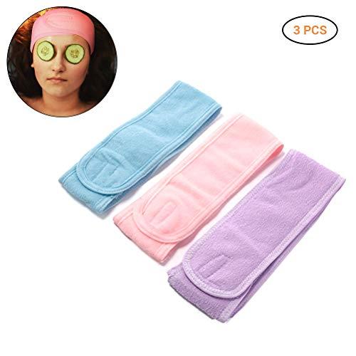 Hihey Bande De Cheveux Cosmétiques 3pcs Bande De Cheveux Réglable avec Velcro pour Maquillage Sports Yoga Traitements Cosmétiques