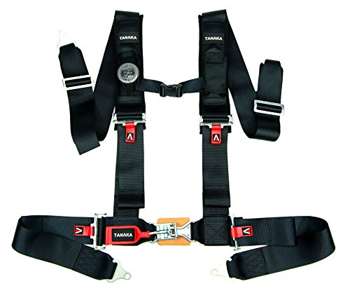 Tanaka Latch and Link 4-Point Safety Harness Set with Ultra Comfort Heavy Duty Shoulder Pads and Utility Pockets (for one seat) (Black)