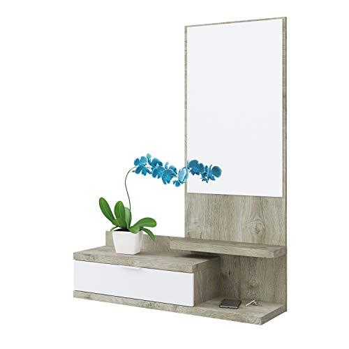 Habitdesign Recibidor con Cajon y Espejo, Mueble de Entrada, Modelo Dahlia, Color Blanco Artik y Roble Alaska, Medidas: 81 cm...