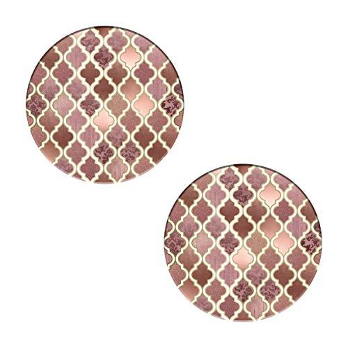 Rosegold - Set di 2 sottobicchieri con motivo a mattonelle marocchine, rotondi, con pietra assorbente e base in sughero, per tazze e tazze, ufficio, cucina