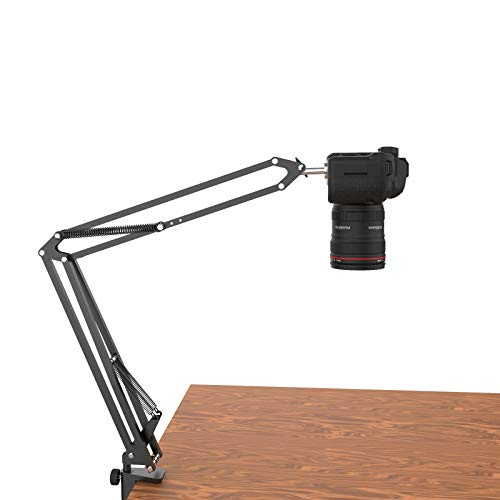 Overhead Tripod for DSLR Cameras, Heavy Duty Desk Mount Stand with Flexible Articulating Boom Arm, Camera Holder Table Clamp Accessories for Canon Nikon Sony Fuji SLR Mirrorless Cam Video Photography