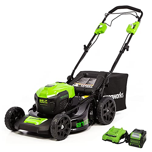 Greenworks 40V Brushless Self-Propelled Lawn Mower, 21-Inch Electric Lawn Mower, 5.0Ah Battery and Charger Included