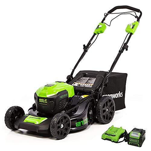 Greenworks 40V Brushless Self-Propelled Lawn Mower, 21-Inch...