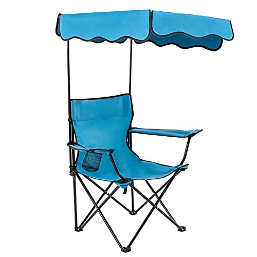 Outdoor Camping Chair, Beach Chair with Canopy Shade, Portable & Folding Camping Chair with Shade...