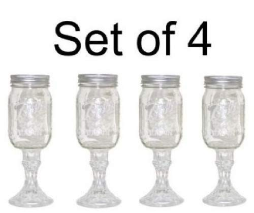 Mason Jar Wine Glass Stemware Set Of 4 Buy Online In Brunei At Desertcart