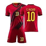 Enfants Adulte Football Sportswear 2020 Coupe d'europe Belgique Bruyne n ° 7 Lukaku n ° 9 Maillot Costume de Football à Domicile personnalisé, Maillot de Football étudiant-red10-28