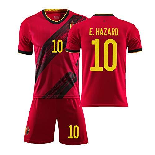 MJAD Kinder Erwachsene Sommer Fußball Student Sportswear 2020 Europapokal Belgien Trikot benutzerdefinierte Heimfußball Anzug Anzug Team Uniform männlich-red10-16