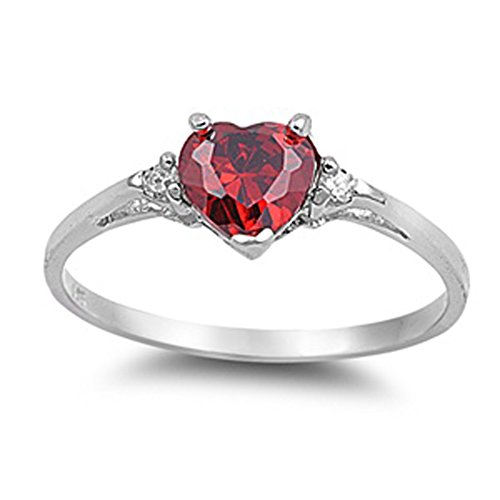 Sac Silver Sterling Silver Simulated Ruby Heart Promise Ring, 7