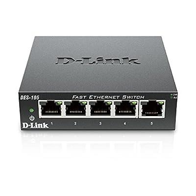D-Link Fast Ethernet Switch, 5 Port Unmanaged 10/100 Metal Fanless Desktop or Wall Mount Design (DES-105)