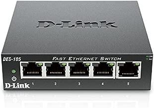 D-Link Fast Ethernet Switch, 5 Port Unmanaged 10/100 Metal Fanless Desktop or Wall Mount Design (DES-105), Black
