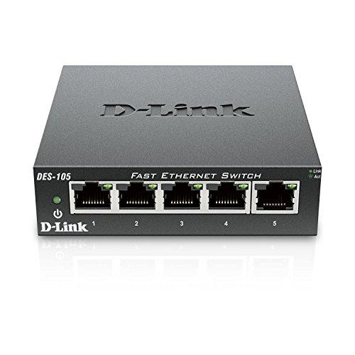 DLink Fast Ethernet Switch 5 Port Unmanaged 10/100 Metal Fanless Desktop or Wall Mount Design DES105