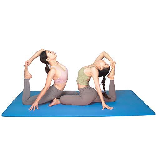 YUREN Doppelte Yogamatte Extra Breit 200 x 130 cm Gymnastikmatte Gros 15mm Ftness Matte Ubungsmatte Weich Dicke Yoga Matte XL - Blau
