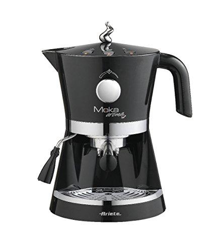 Ariete 00M133741AR0 1337 Moka Aroma Siebträger-Espressomaschine für Pulver und E.S.E.-Pads, 850 W, schwarz
