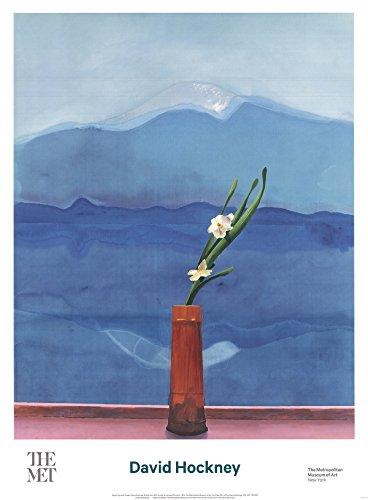David Hockney Poster Mount Fuji und Blumen, 86,4 x 63,5 cm, Pop-Art 2016, Blau, Rot