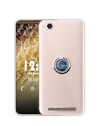 Sunrive Kompatibel mit Xiaomi Mi 4c Hülle Silikon, Transparent Handyhülle 360°drehbarer Ständer Ring Fingerhalter Fingerhalterung Schutzhülle Etui Hülle(Blauer Marmor) MEHRWEG
