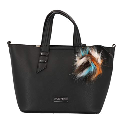 Bolso de compras para mujer CAFENOIR de cuero negro HBR192-010
