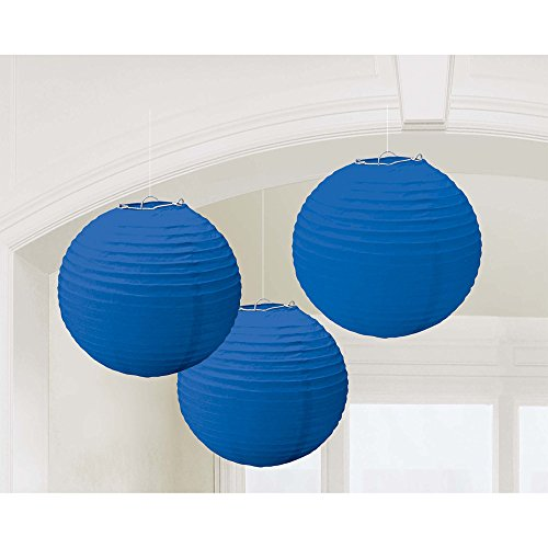"Traditional Hanging Round Lantern Party Decoration, Royal Blue, Paper , 9"", Pack of 3"