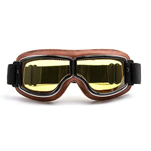 evomosa Motorradbrille Motorräder Retro Pilot Nebelsichere Brille ATV Bike Motocross Brille Schutzbrille - Gelbe Linse